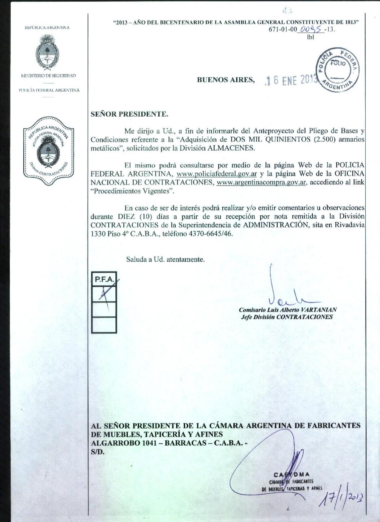 Cafydma Informa sobre licitaciones.