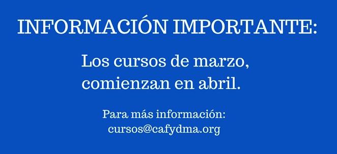 Cursos de CAFYDMA comienzan en abril de 2015, no en marzo