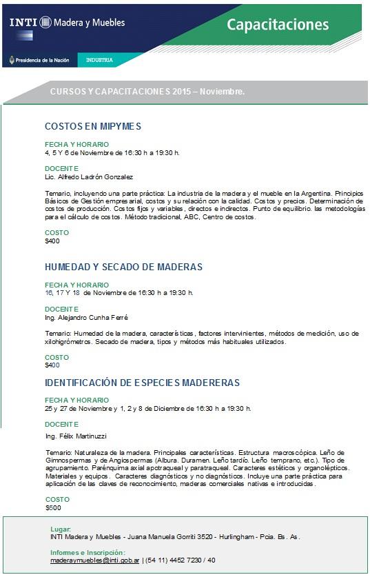 cursos INTI Madera y muebles