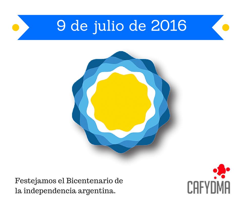 9 de julio de 2016. Saludos desde CAFYDMA