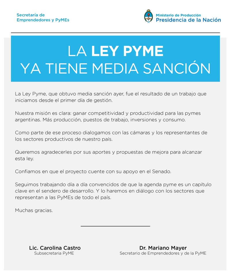 media sanción a la ley PyME