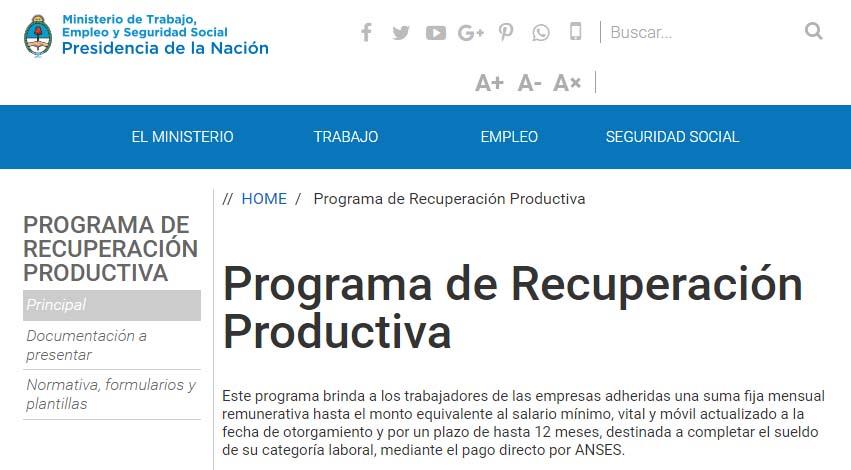 Programa de Recuperación Productiva - REPRO