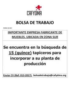 BÚSQUEDA LABORAL: 15 Tapiceros