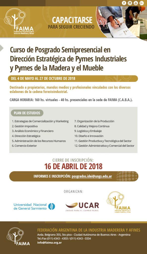 Curso de Posgrado en Dirección Estratégica de Pymes Industriales de la Madera y el Mueble